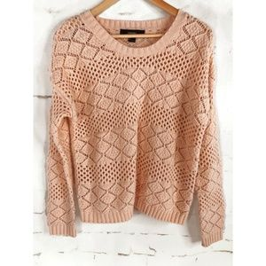 Forever 21 Sweaters - Forever 21 Peach Diamond Big Knit Sweater
